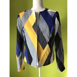 Anne Klein Long Sleeve Rectangle Geo Blazer Sz 12